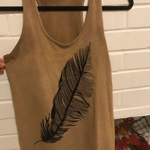 Suede tank-top with velvet feather